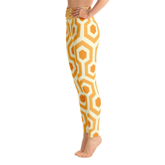 Cute Yellow Pentogram Yoga Leggings