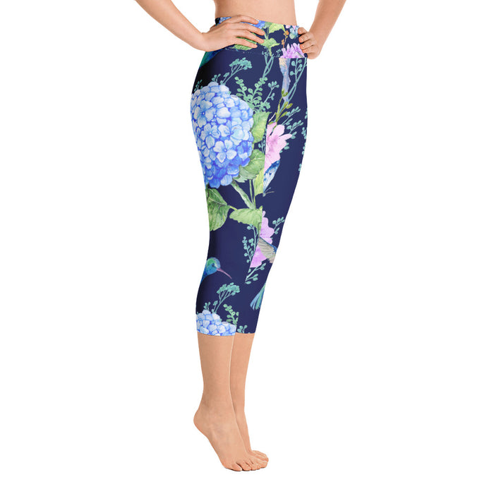 Birds and Flowers Yoga Capri Leggings