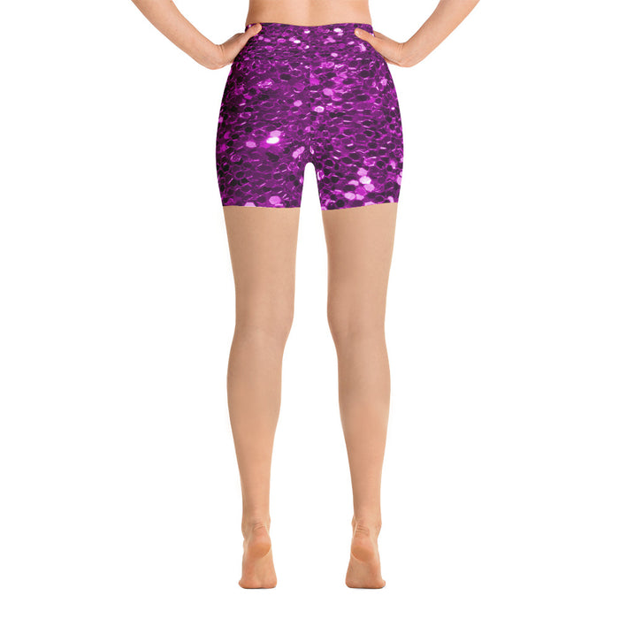 Purple Glitter Yoga Shorts