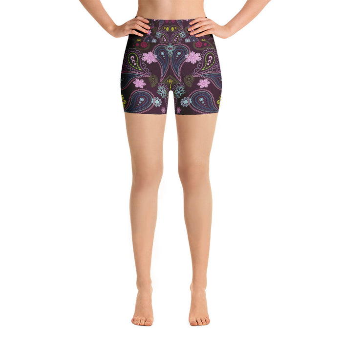 Cute Floral Pattern Yoga Shorts