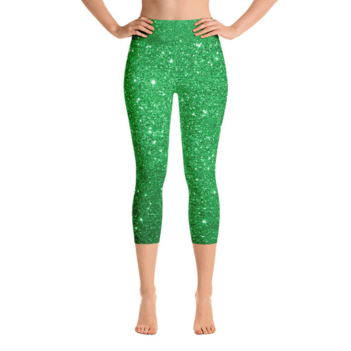 Green Glitter Yoga Capri Leggings