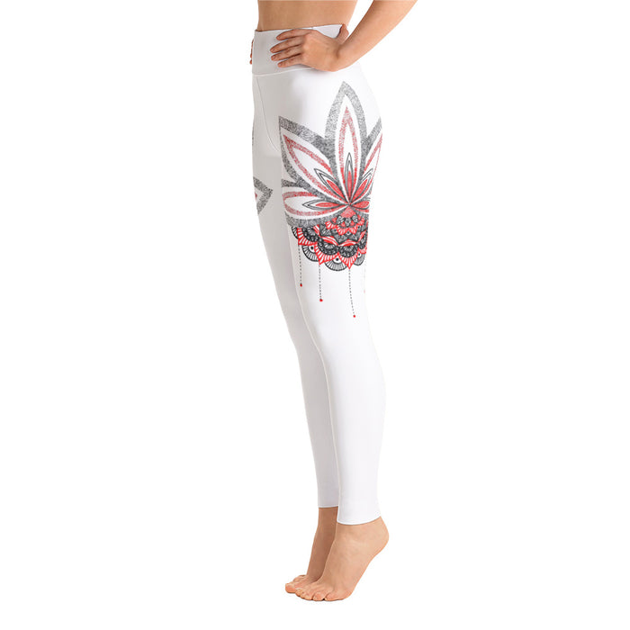 Beautiful Lotus Mandala Yoga Leggings - Original Art Leggings by Meli