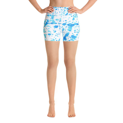 Light Blue Spatter Yoga Shorts