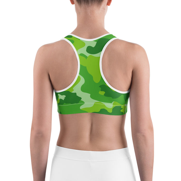 Cute Green Camo Sports Bra