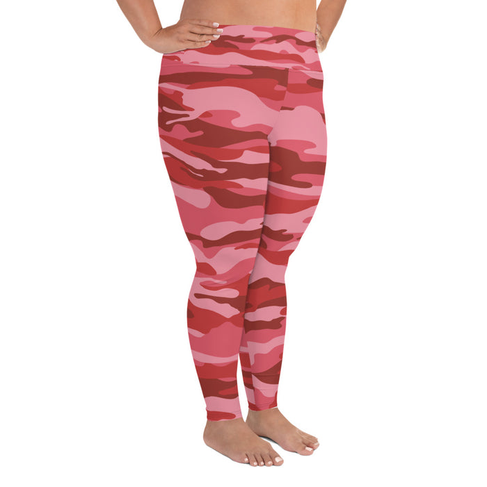 Cute Red Pink Camo Plus Size Yoga Leggings (up to 6XL ) - Cool XL Leggings - Women's Plus Sized Yoga Leggings – Plus Size Workout Pants – Plus Sized Gym Leggings