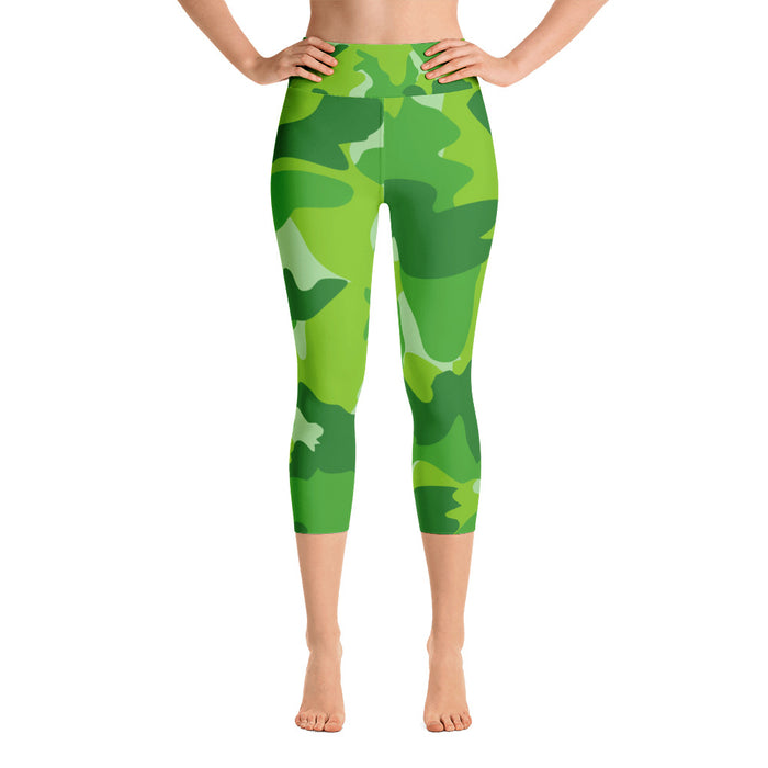 Cute Green Camo Yoga Capri Leggings
