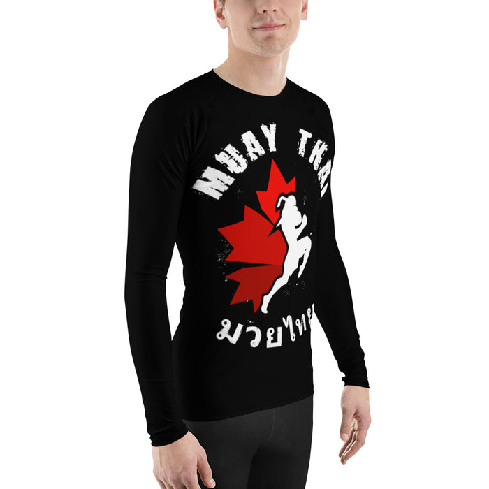 Cool Canadian Muay Thai Rash Guard - Made in the US Men's MT Rash Guard (for Bjj, Judo and More)