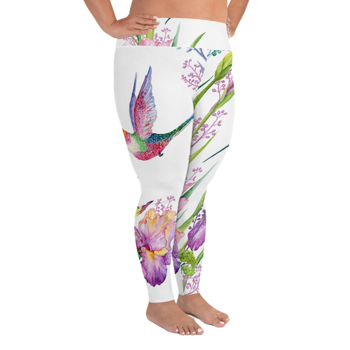 Cute Birds and Flowers Plus Size Yoga Leggings (up to 6XL ) - Cool XL Leggings- Women's Plus Sized Yoga Leggings –Plus Size Workout Pants –Plus Sized  Gym Leggings