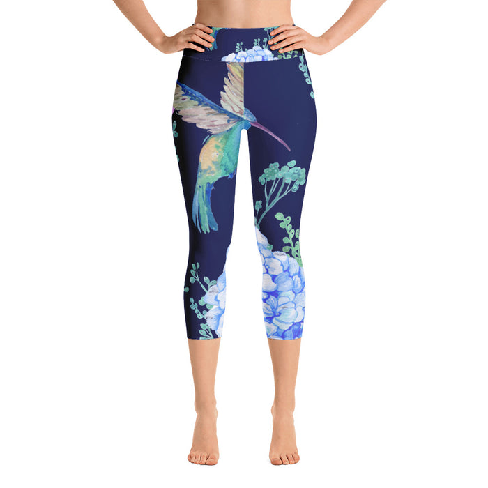 Cute Birds and Flowers Yoga Capri Leggings