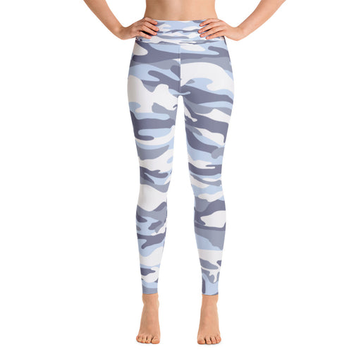 Cute Sky Blue Camo Yoga Leggings