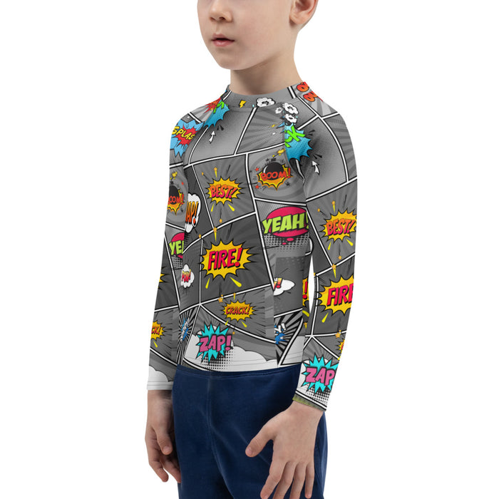 Comic Book Kids Rash Guard -  kids jiu jitsu rash guard - Comic Strip jiu jitsu rash guard kids - kids rash guard boys bjj - kids bjj rash guard - kids rash guard bjj - Rashie