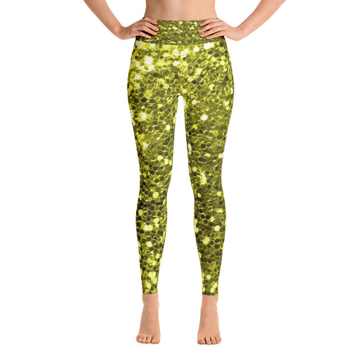 Gold Glitter Pattern 2 Yoga Leggings