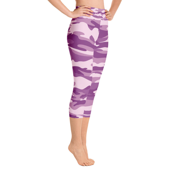 Cute Purple Camo Yoga Capri Leggings