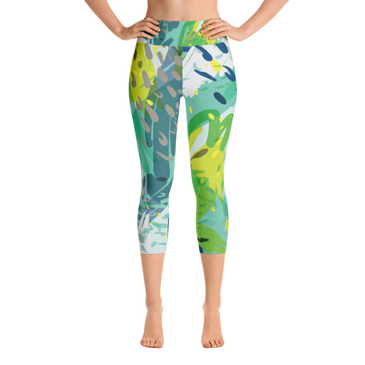 Cute Green Color Splash Yoga Capri Leggings