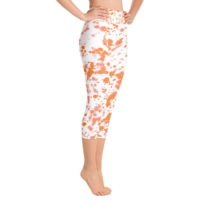 Orange Spatter Yoga Capri Leggings