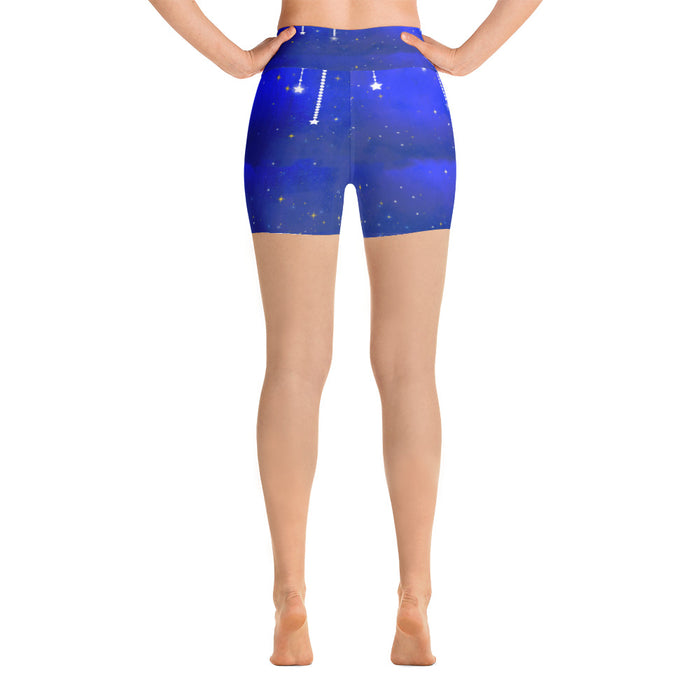 Blue Falling Star Yoga Shorts