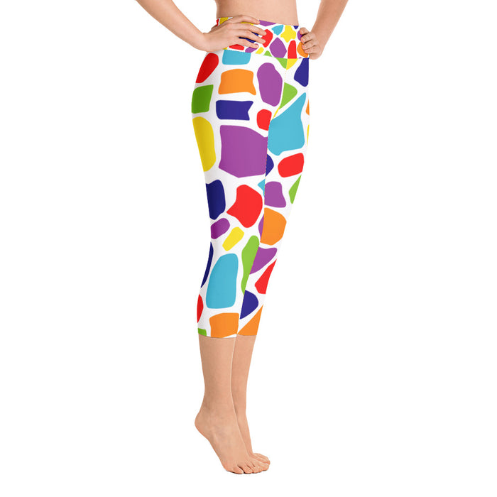 Rainbow Print Yoga Capri Leggings