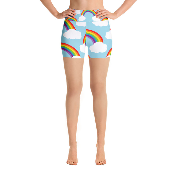 Cute Rainbow Cloud Yoga Shorts