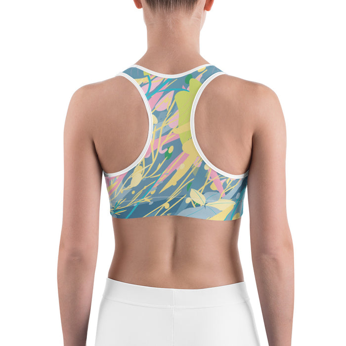 Blue Yellow Color Splash Yoga Sports Bra