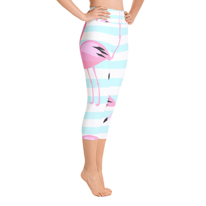 Cute Famingo Yoga Capri Leggings