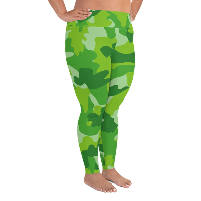 Cute Green Camo Plus Size Yoga Leggings (up to 6XL ) - Cool XL Leggings- Women's Plus Sized Yoga Leggings –Plus Size Workout Pants –Plus Sized  Gym Leggings