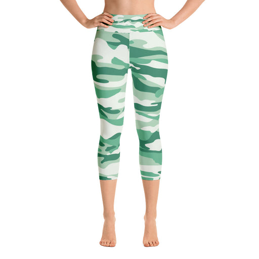 Fresh Green Camo Yoga Capri Leggings