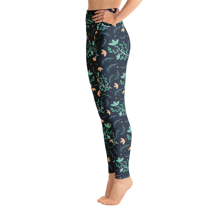 Cute Green Floral Pattern Yoga Leggings
