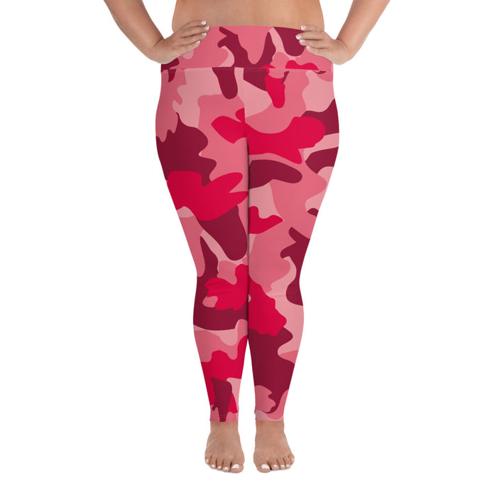 Cute Red Camo Plus Size Yoga Leggings (up to 6XL ) - Cool XL Leggings- Women's Plus Sized Yoga Leggings –Plus Size Workout Pants –Plus Sized  Gym Leggings