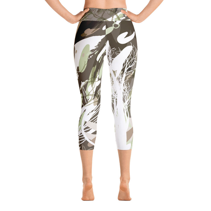 Cute White Color Splash Yoga Capri Leggings