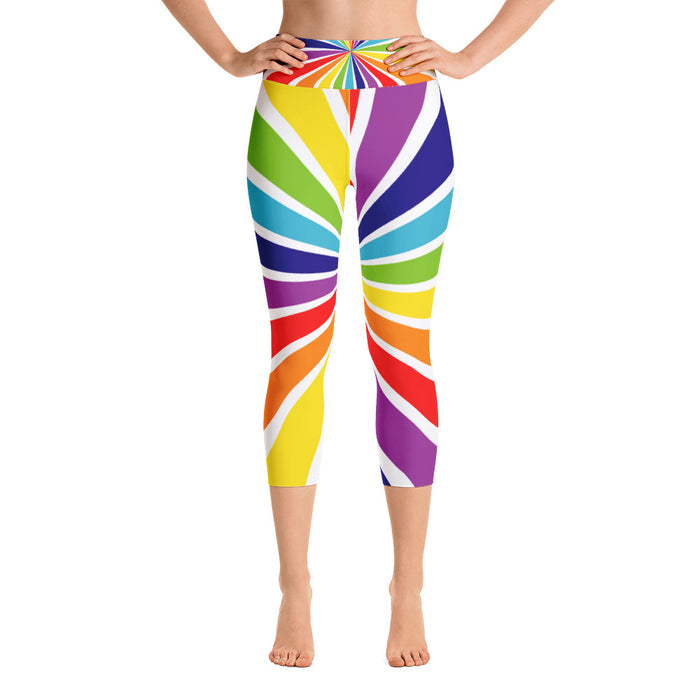Rainbow Swirl Yoga Capri Leggings