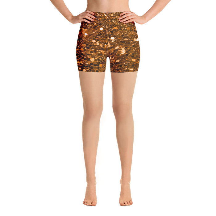 Orange Glitter Yoga Shorts