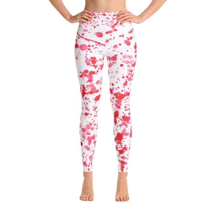 Red Color Spatter Yoga Leggings