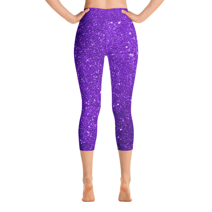 Cute Purple Yoga Capri Leggings