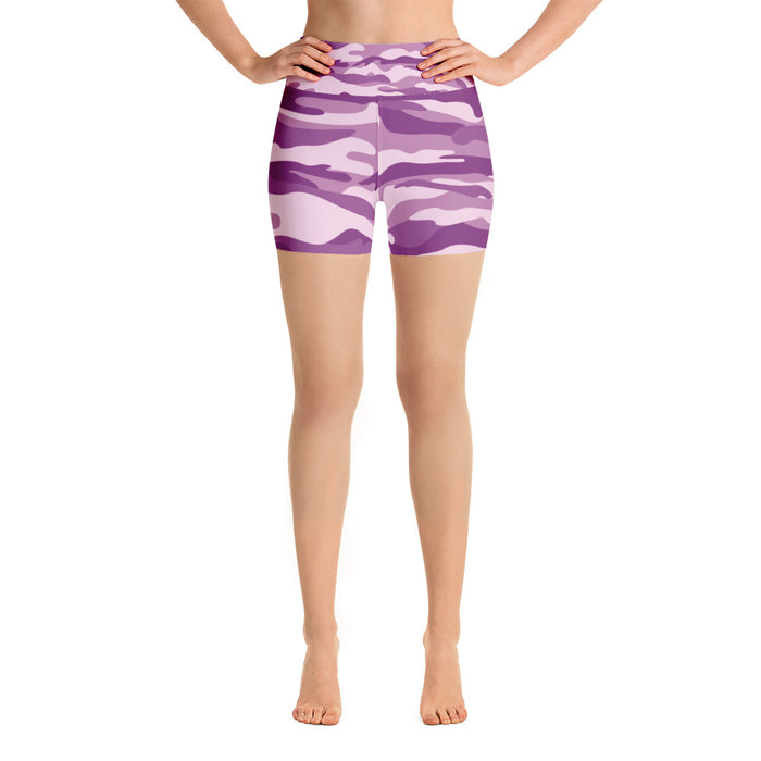 Cute Purple Camo Yoga Shorts