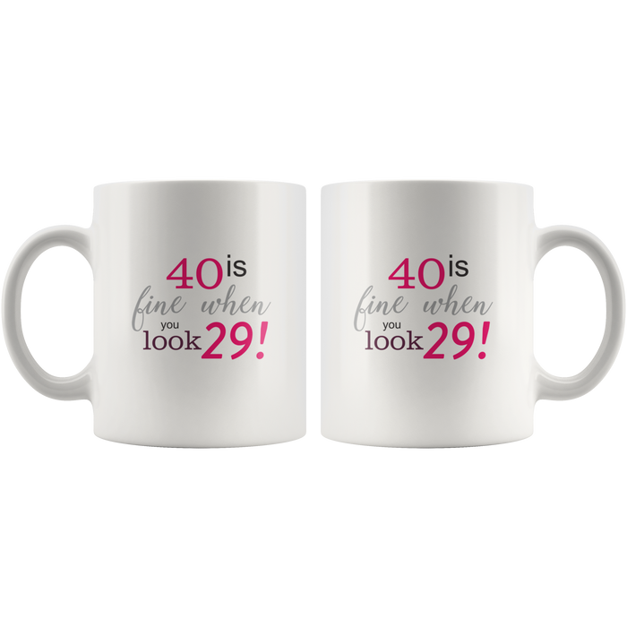 40th Birthday Gifts – 11oz Ceramic 40th Birthday Mug – Funny 40th Birthday Gifts for Women & Men – Great Wife 40th Birthday Gift Ideas