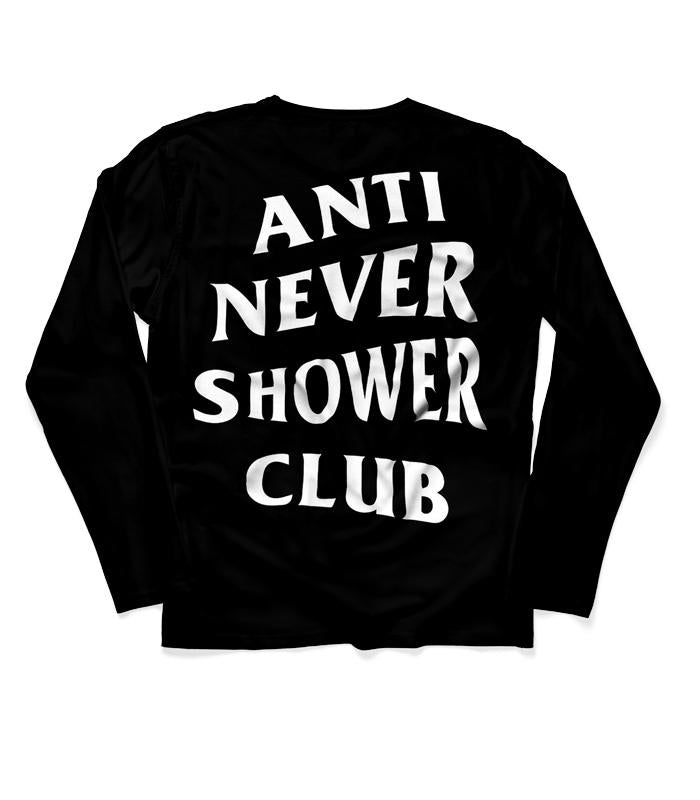 ANSC - Anti Never Shower Club Long Sleeve T-Shirt, Black