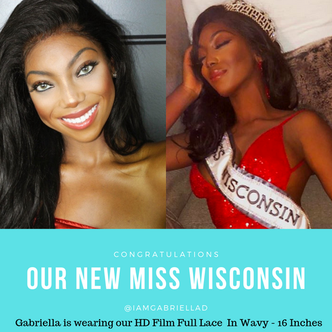 gabriella deyi @azulhaircollection azul hair collection hd film lace wig in wavy 16 inches winner of the Miss Wisconsin