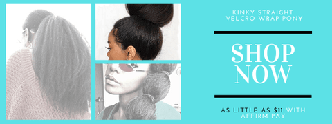 velcro wrap sleek ponytail in kinky straight by azul hair collection on sale