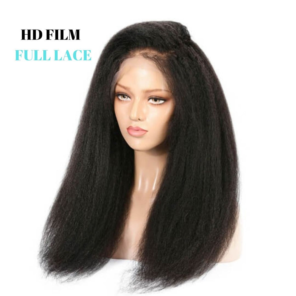 Brazilian HD Film Lace Wig -Kinky Straight - Full Lace  150% Density