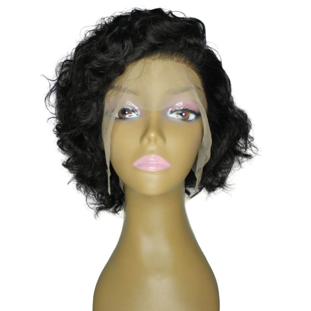 Brazilian Hair - Swiss Transparent Lace Front Wig - Pixie Cut - Wavy Style