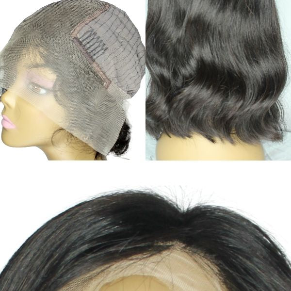 Brazilian Hair -Swiss Brown Lace Front Wig - Bob Cut - Wavy Style