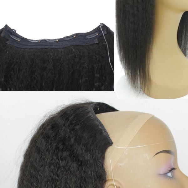 Brazilian Halo Hair Extensions - Kinky Straight Style by azul hair collection