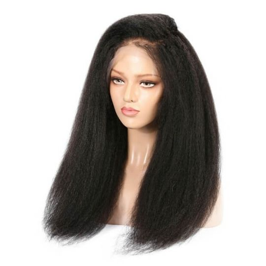 Brazilian  Hair - Swiss Light Brown Lace Front Wig - Kinky Straight Style  150% and 180% D