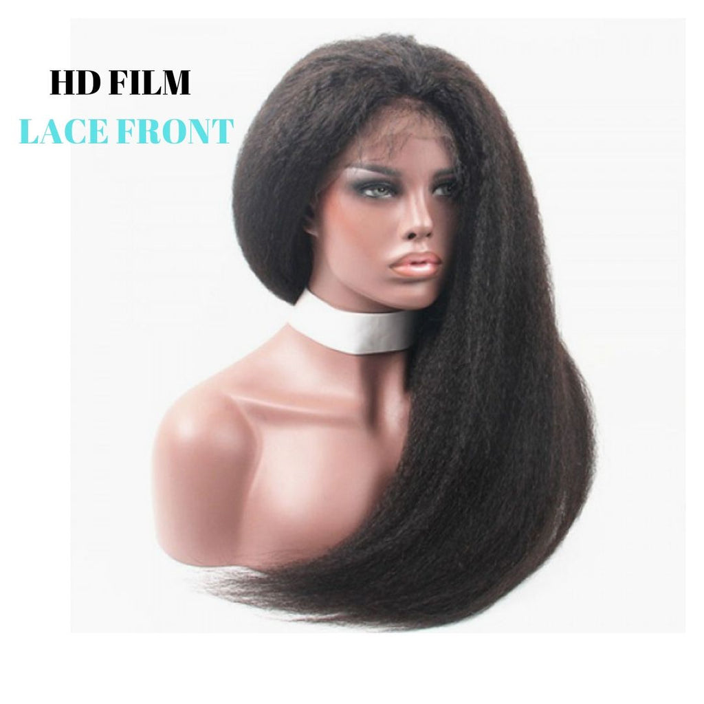 Brazilian HD Film Lace Wig - Kinky Straight - Lace Front   150% Density