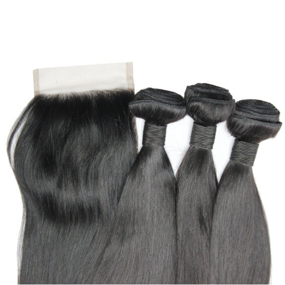 Brazilian Hair Bundle Set With Closure - Straight Style