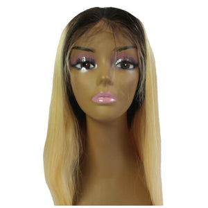 Brazilian Hair Lace Front Wig -Black to Blonde Ombre - Straight Style