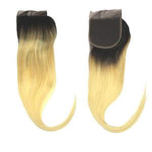 Brazilian Hair Lace Closure - Black to Blonde Ombre - Straight Style