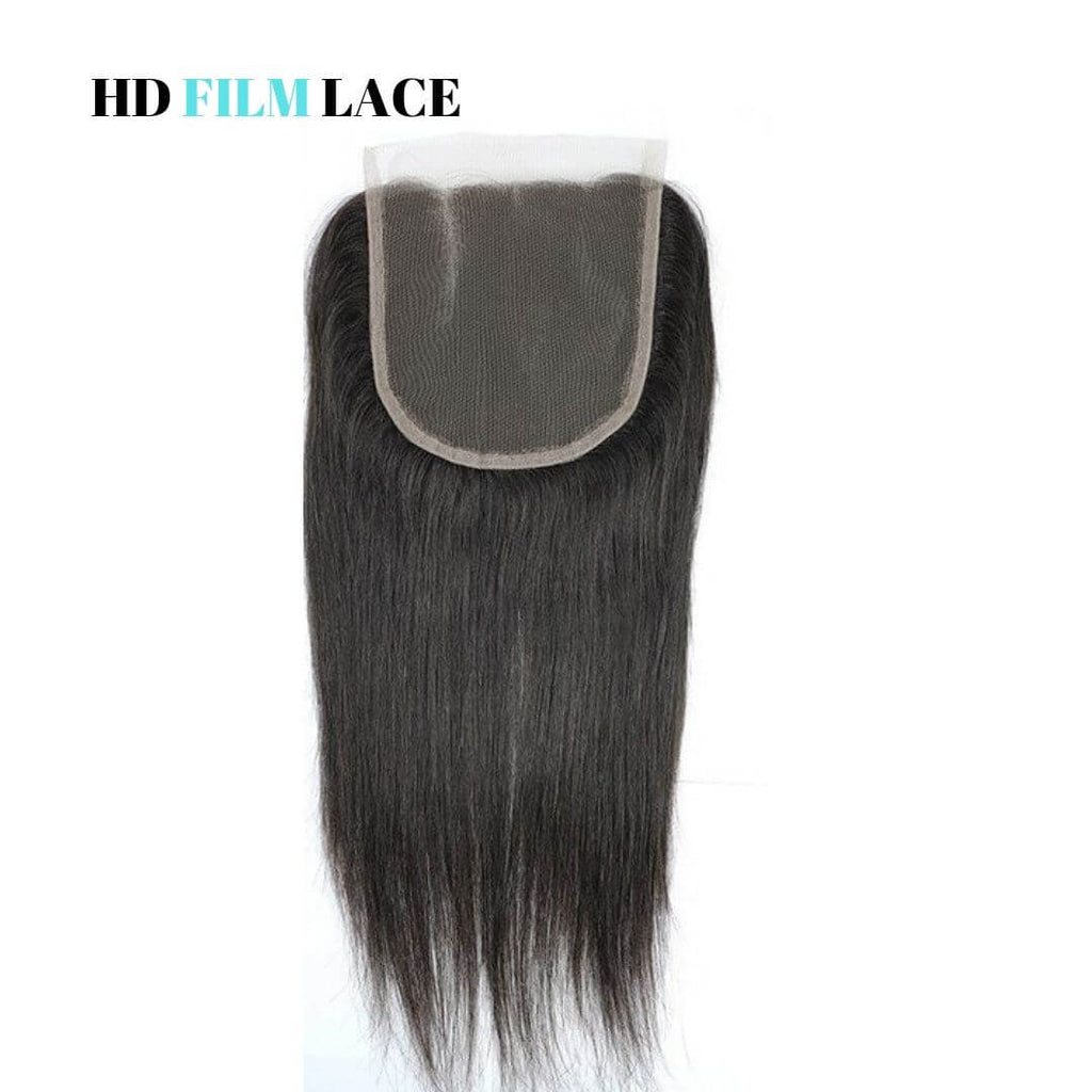 Straight Brazilian Hair HD Film Lace Closure - azulhaircollection Azul Hair Collection