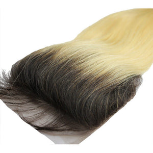 Straight hair lace closure - black to blonde ombre- azulhaircollection Azul Hair Collection