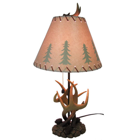 Faux Deer Antler & Pinecone Lamp